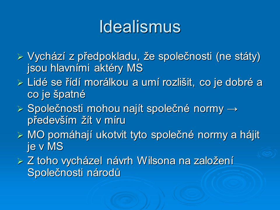 Idealismus Vychází z předpokladu, že společnosti (ne státy) jsou hlavními aktéry MS.