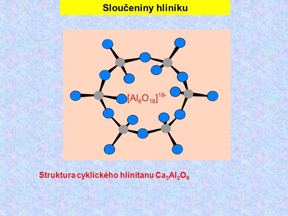 Sloučeniny hliníku Struktura cyklického hlinitanu Ca3Al2O6
