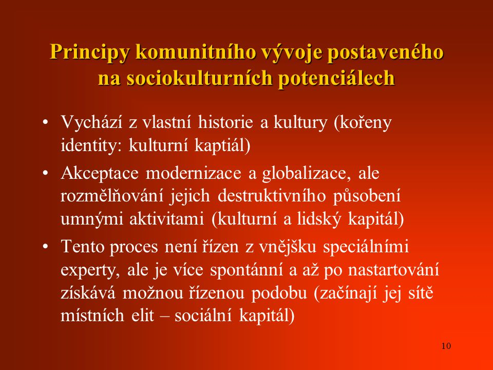 Principy komunitního vývoje postaveného na sociokulturních potenciálech
