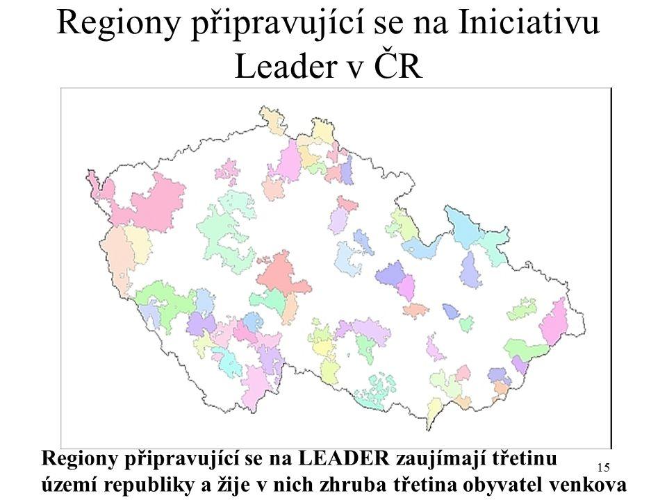 Regiony připravující se na Iniciativu Leader v ČR
