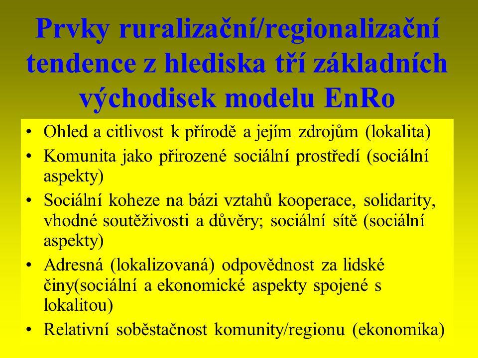 Prvky ruralizační/regionalizační tendence z hlediska tří základních východisek modelu EnRo