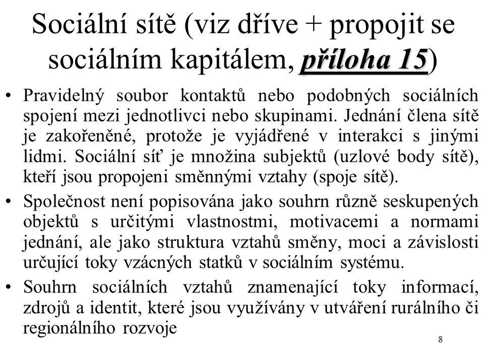 Sociální sítě (viz dříve + propojit se sociálním kapitálem, příloha 15)