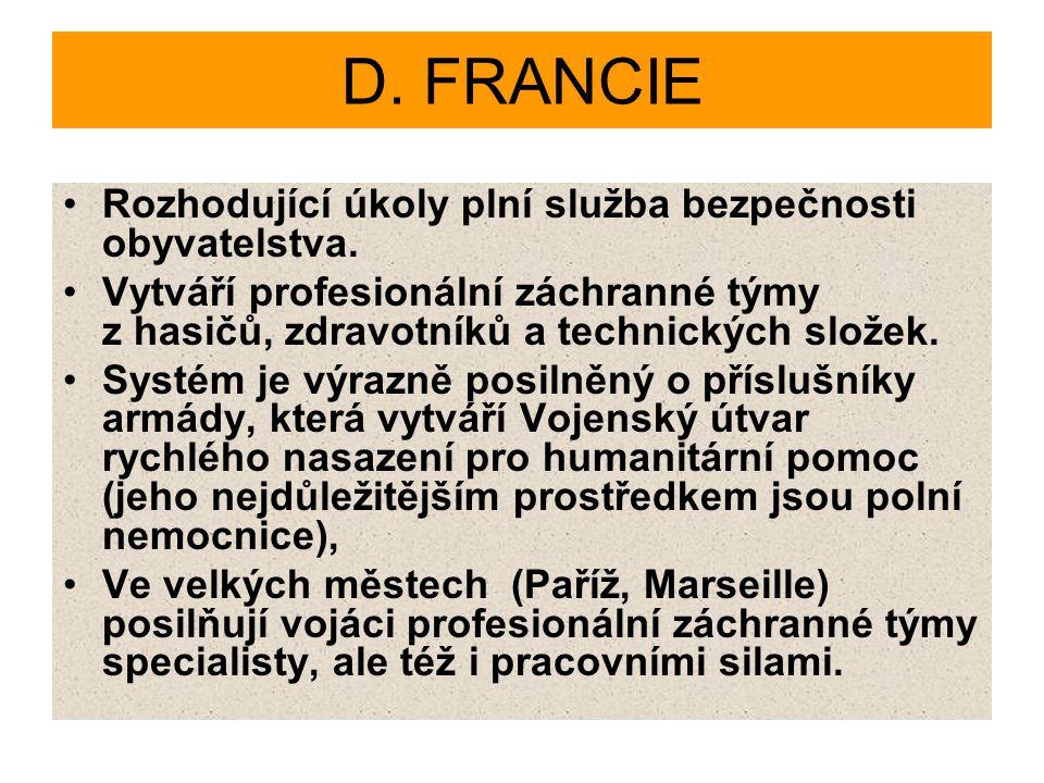 D. FRANCIE Rozhodující úkoly plní služba bezpečnosti obyvatelstva.