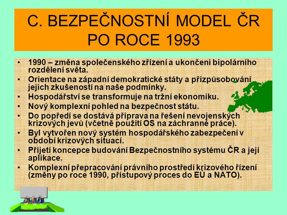 C. BEZPEČNOSTNÍ MODEL ČR PO ROCE 1993