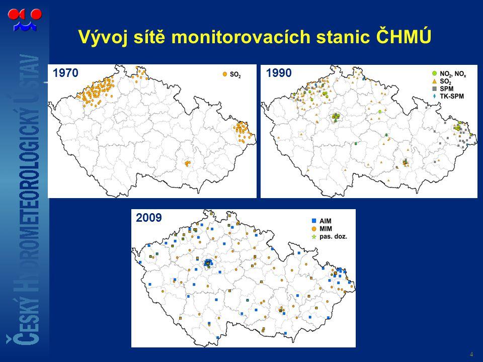 Vývoj sítě monitorovacích stanic ČHMÚ