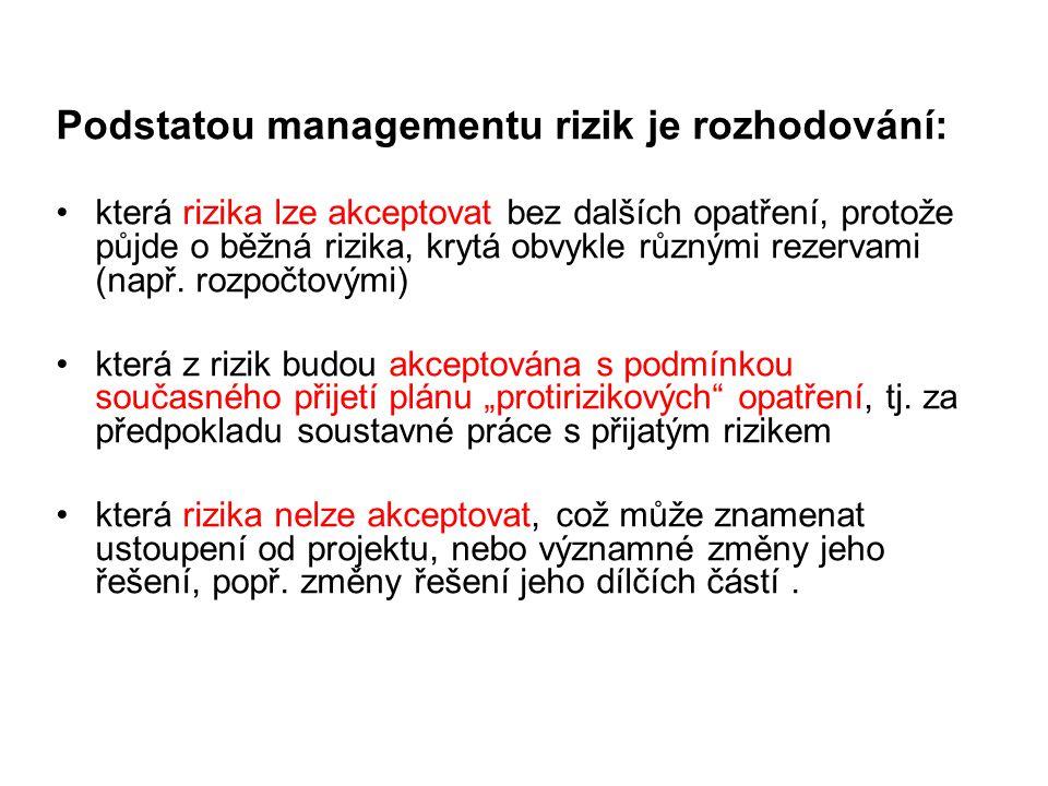 Podstatou managementu rizik je rozhodování: