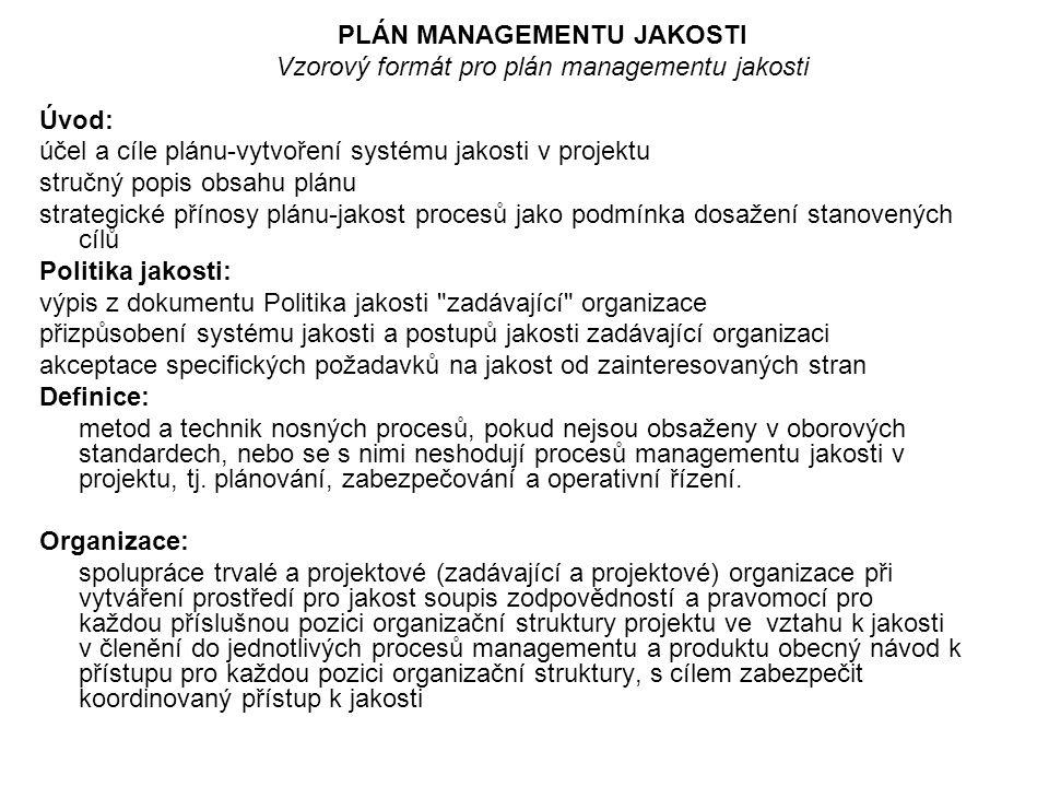 PLÁN MANAGEMENTU JAKOSTI Vzorový formát pro plán managementu jakosti