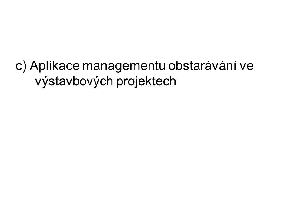 c) Aplikace managementu obstarávání ve výstavbových projektech