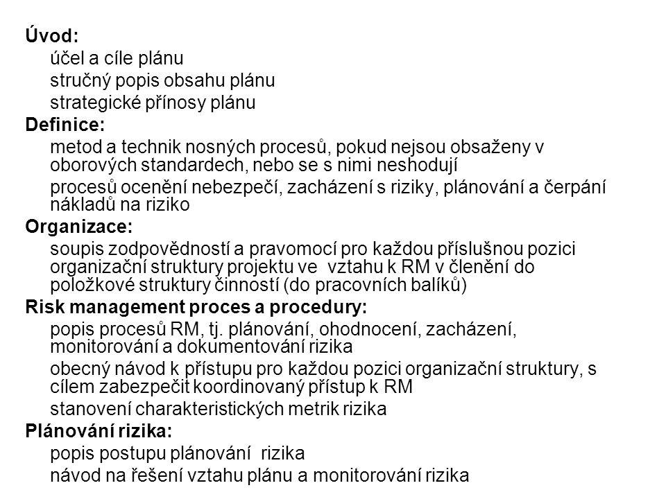 Úvod: účel a cíle plánu. stručný popis obsahu plánu. strategické přínosy plánu. Definice: