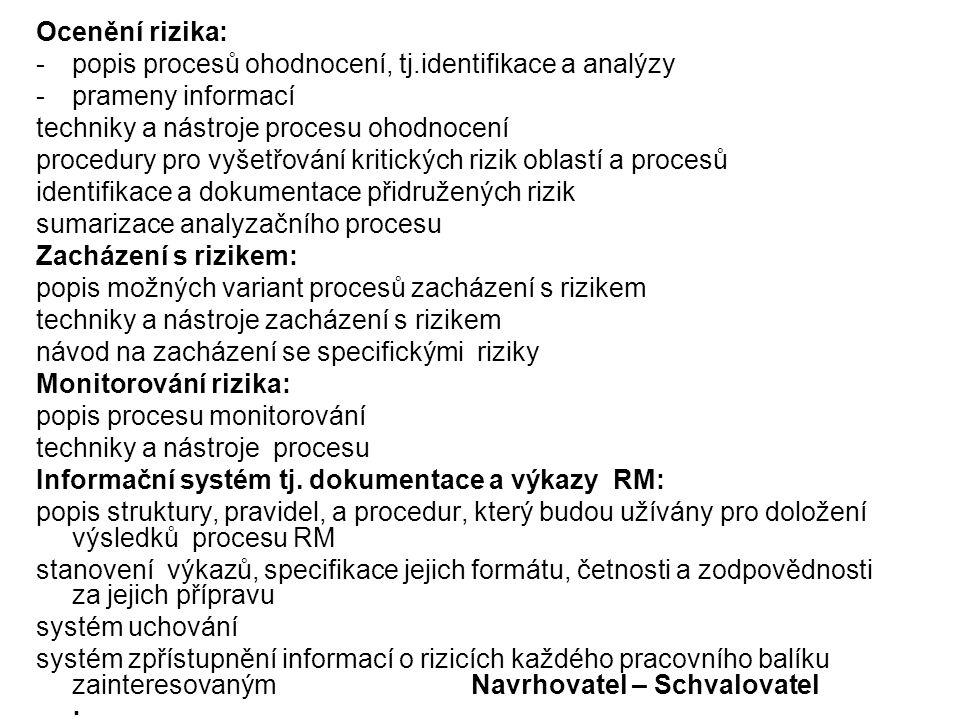 Ocenění rizika: - popis procesů ohodnocení, tj.identifikace a analýzy. - prameny informací. techniky a nástroje procesu ohodnocení.