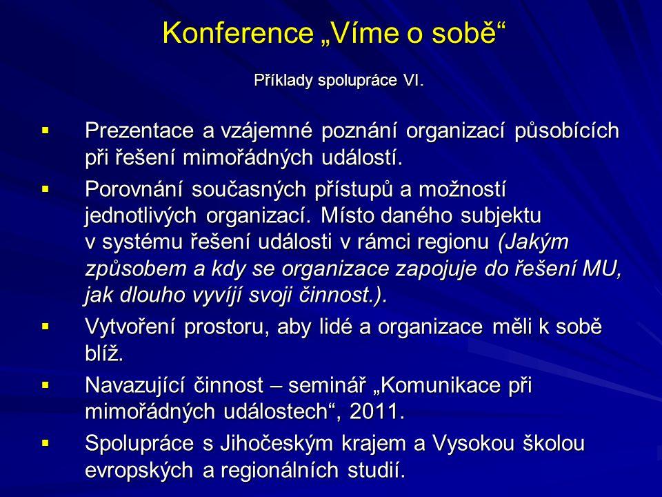 """Konference """"Víme o sobě Příklady spolupráce VI."""