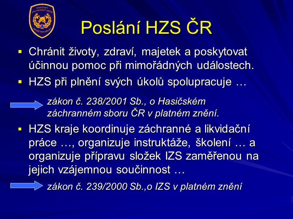 Poslání HZS ČR Chránit životy, zdraví, majetek a poskytovat účinnou pomoc při mimořádných událostech.