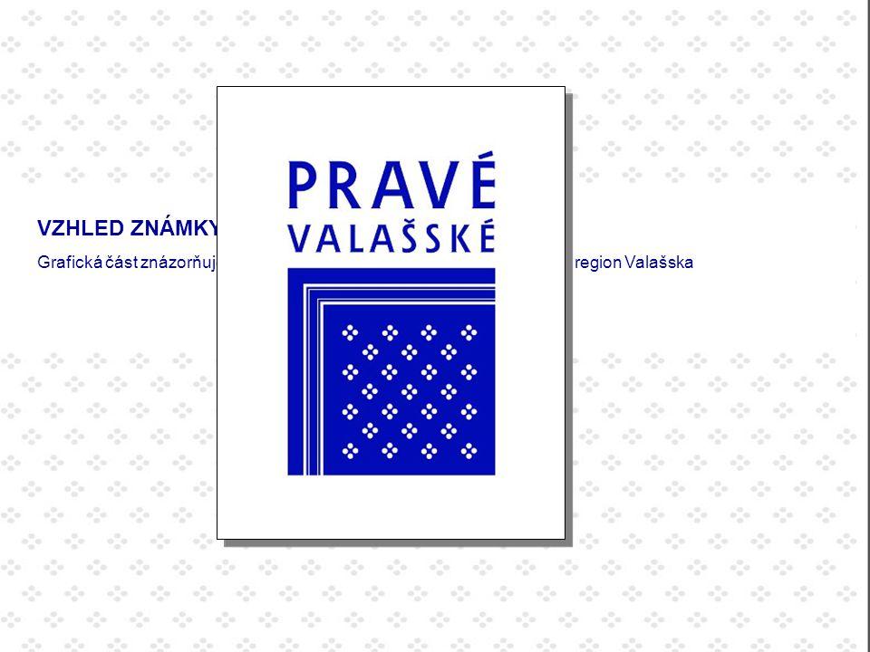 VZHLED ZNÁMKY: Grafická část znázorňuje ústřižek modrotisku, látky charakteristické pro region Valašska.