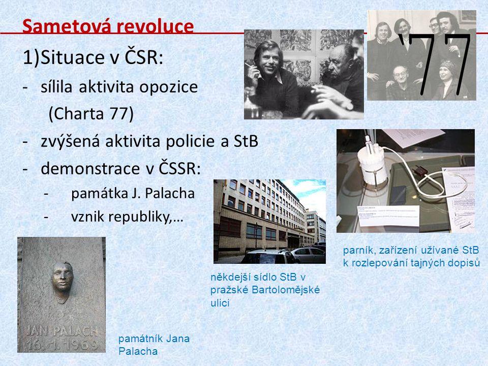 Sametová revoluce Situace v ČSR: sílila aktivita opozice (Charta 77)