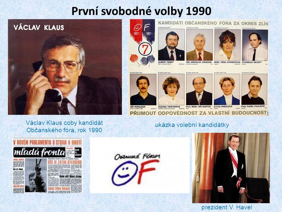 První svobodné volby 1990 Václav Klaus coby kandidát Občanského fóra, rok 1990. ukázka volební kandidátky.
