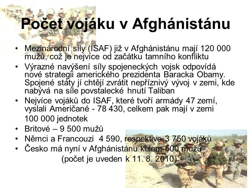 Počet vojáku v Afghánistánu