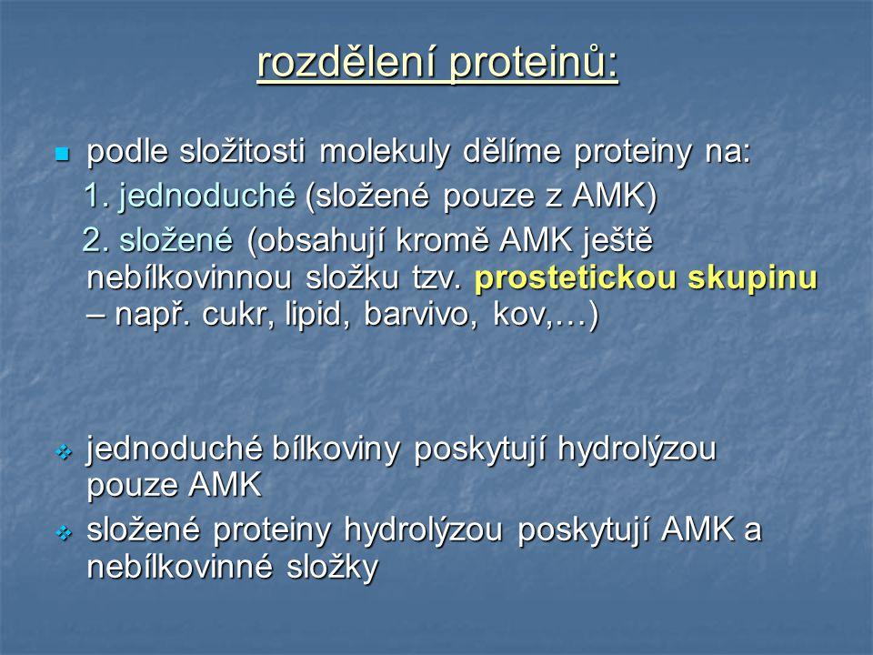 rozdělení proteinů: podle složitosti molekuly dělíme proteiny na: