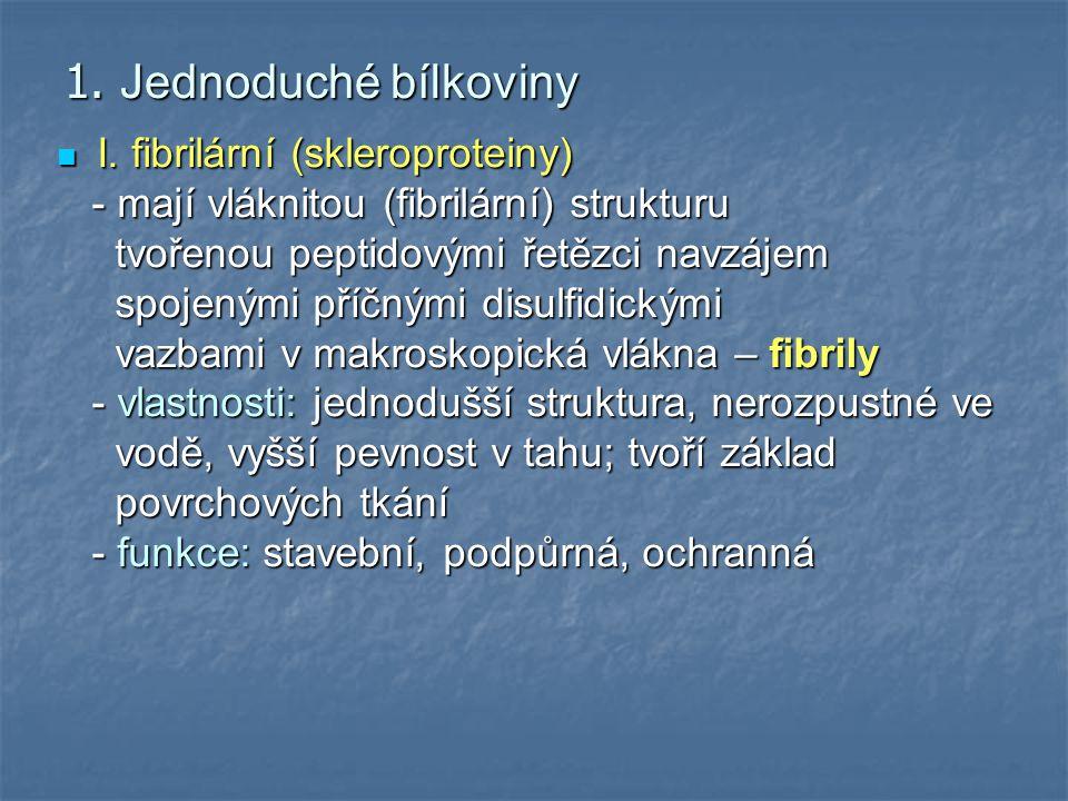 1. Jednoduché bílkoviny I. fibrilární (skleroproteiny)