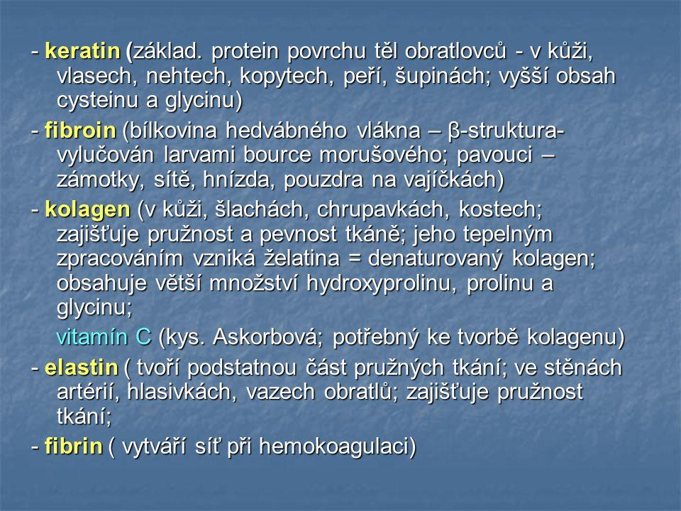 - keratin (základ. protein povrchu těl obratlovců - v kůži, vlasech, nehtech, kopytech, peří, šupinách; vyšší obsah cysteinu a glycinu)