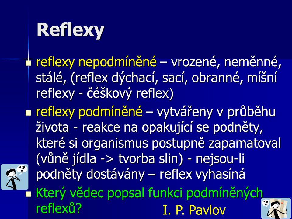 Reflexy reflexy nepodmíněné – vrozené, neměnné, stálé, (reflex dýchací, sací, obranné, míšní reflexy - čéškový reflex)