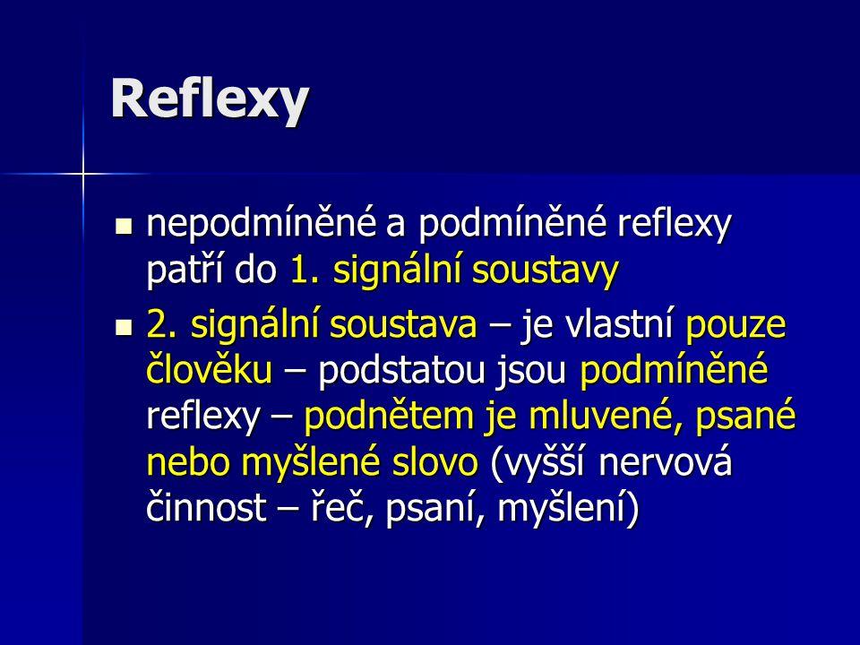 Reflexy nepodmíněné a podmíněné reflexy patří do 1. signální soustavy