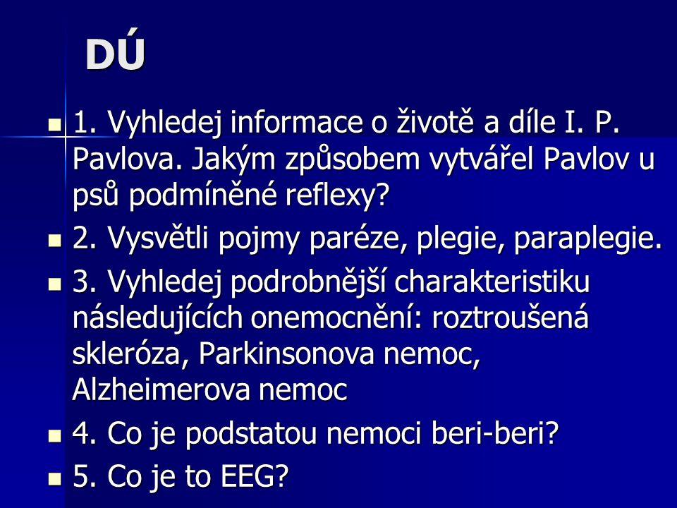 DÚ 1. Vyhledej informace o životě a díle I. P. Pavlova. Jakým způsobem vytvářel Pavlov u psů podmíněné reflexy