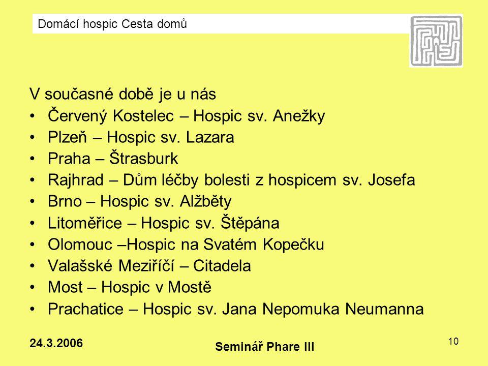 Červený Kostelec – Hospic sv. Anežky Plzeň – Hospic sv. Lazara