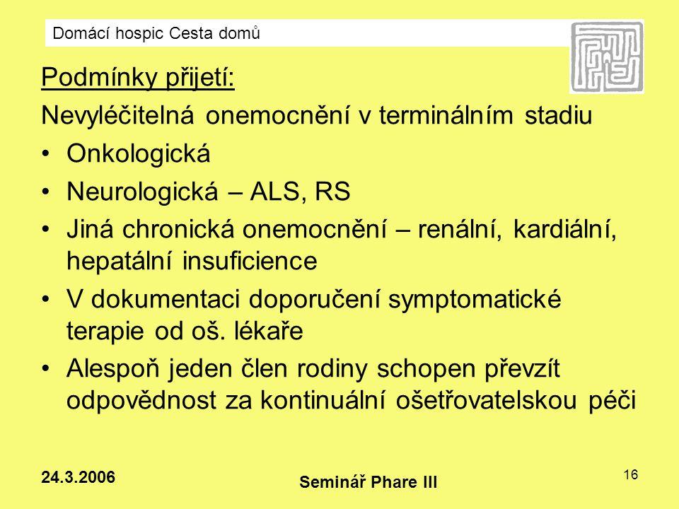 Nevyléčitelná onemocnění v terminálním stadiu Onkologická