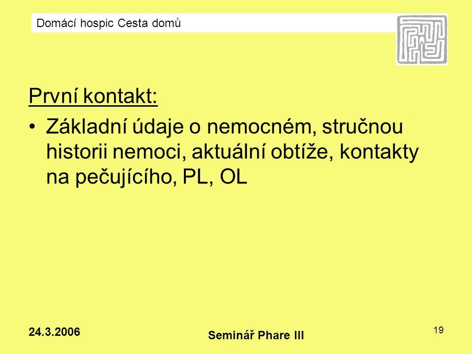 První kontakt: Základní údaje o nemocném, stručnou historii nemoci, aktuální obtíže, kontakty na pečujícího, PL, OL.