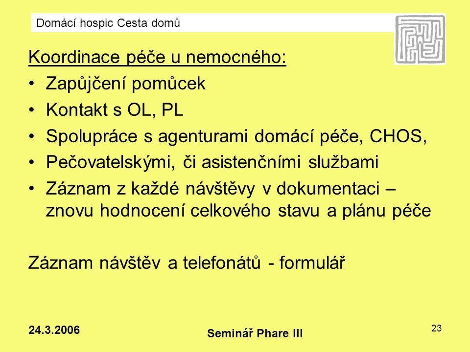 Koordinace péče u nemocného: Zapůjčení pomůcek Kontakt s OL, PL