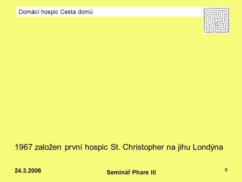 1967 založen první hospic St. Christopher na jihu Londýna
