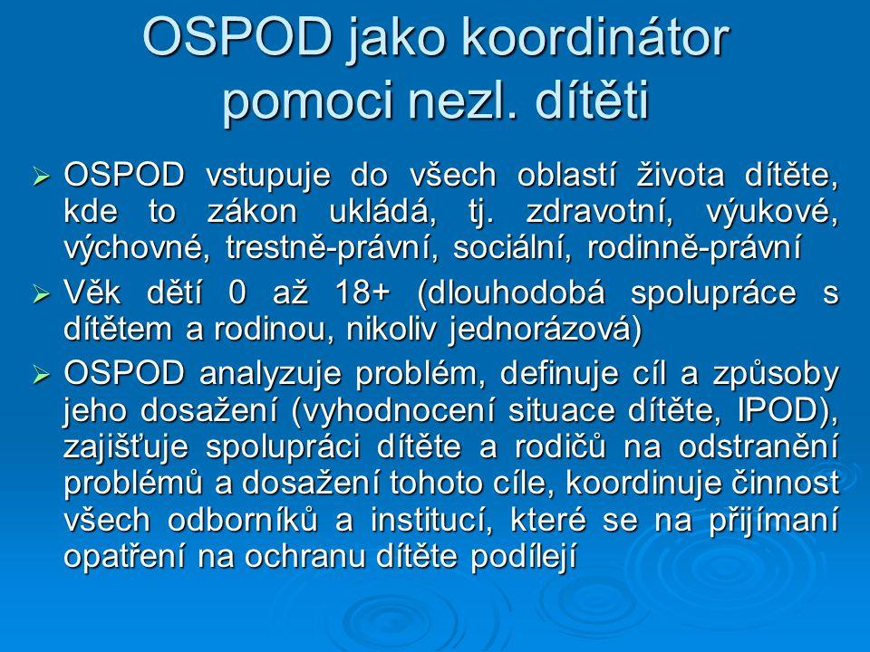 OSPOD jako koordinátor pomoci nezl. dítěti