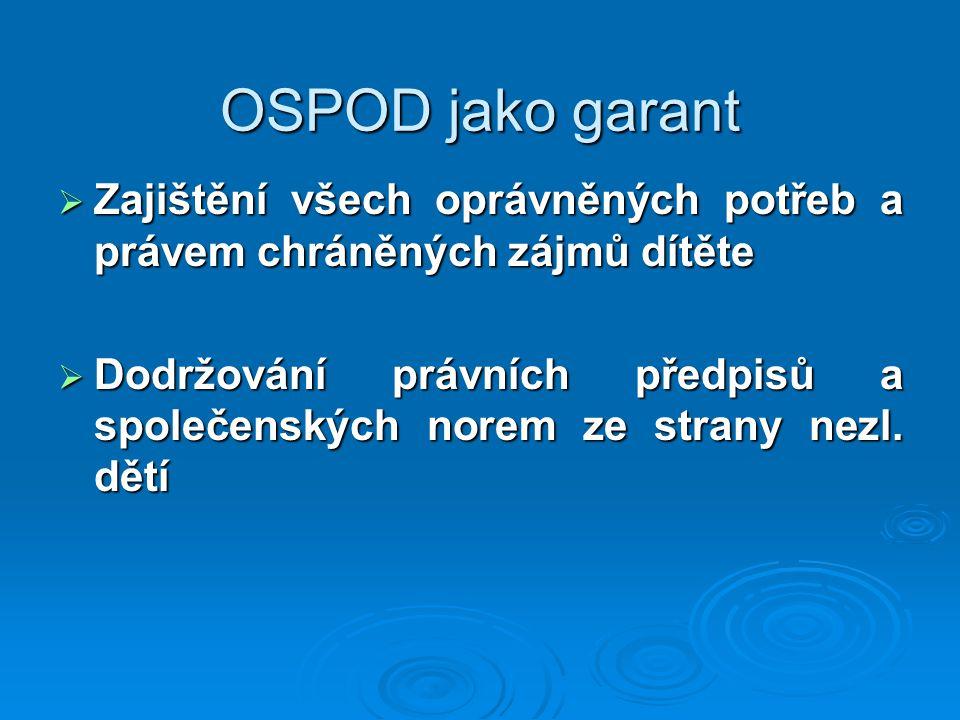 OSPOD jako garant Zajištění všech oprávněných potřeb a právem chráněných zájmů dítěte.