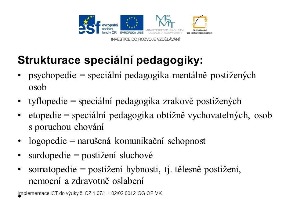 Strukturace speciální pedagogiky: