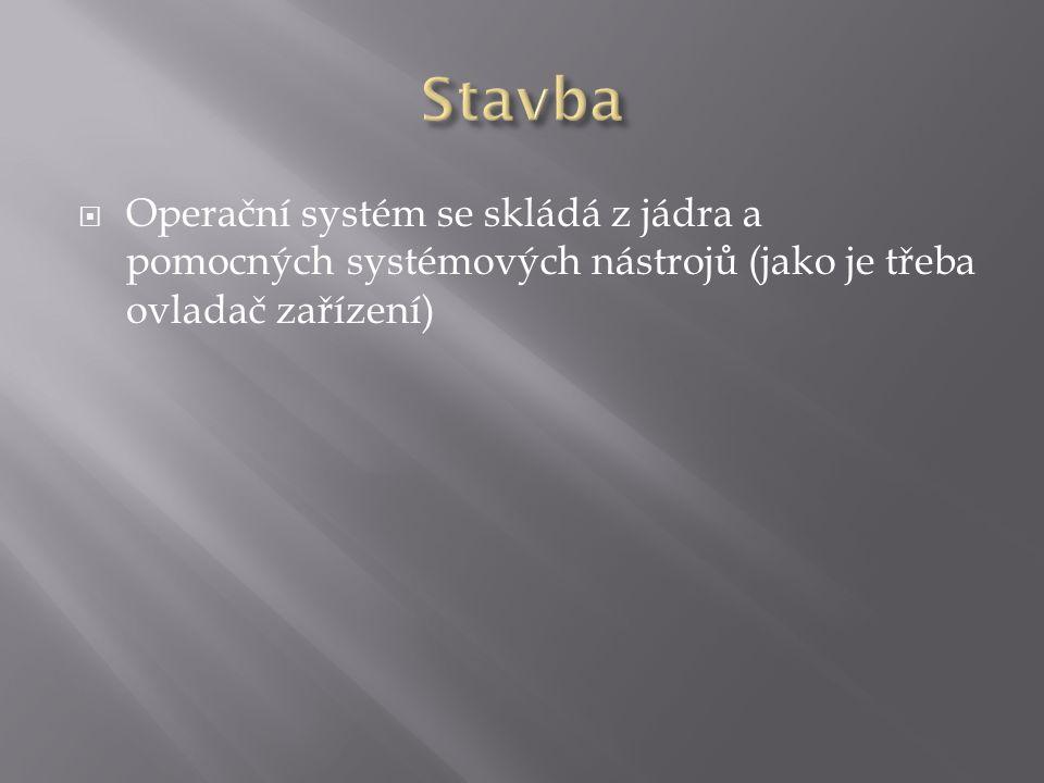 Stavba Operační systém se skládá z jádra a pomocných systémových nástrojů (jako je třeba ovladač zařízení)