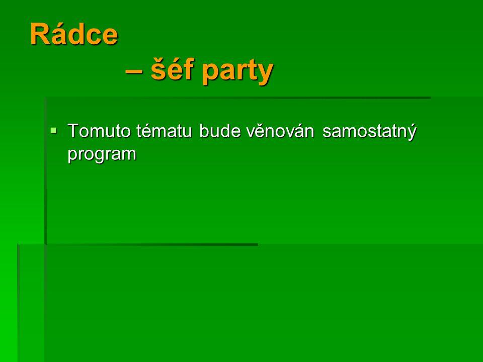 Rádce – šéf party Tomuto tématu bude věnován samostatný program