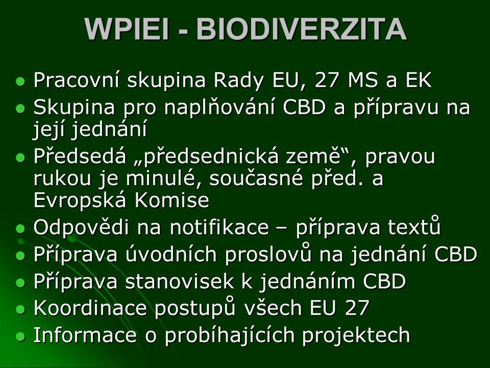WPIEI - BIODIVERZITA Pracovní skupina Rady EU, 27 MS a EK