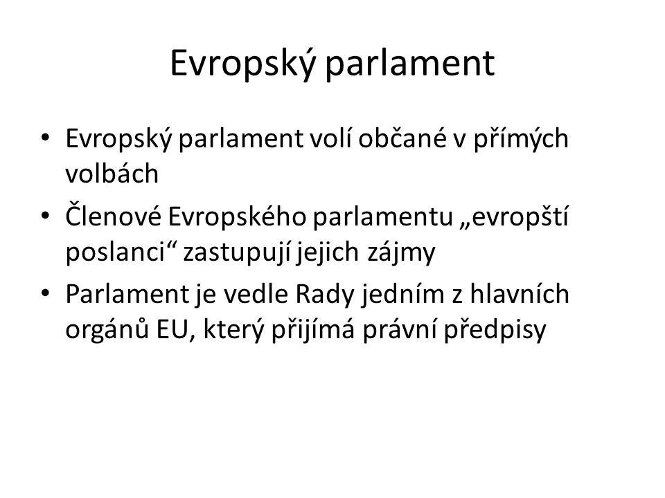 Evropský parlament Evropský parlament volí občané v přímých volbách
