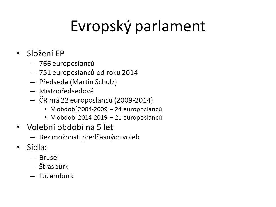 Evropský parlament Složení EP Volební období na 5 let Sídla: