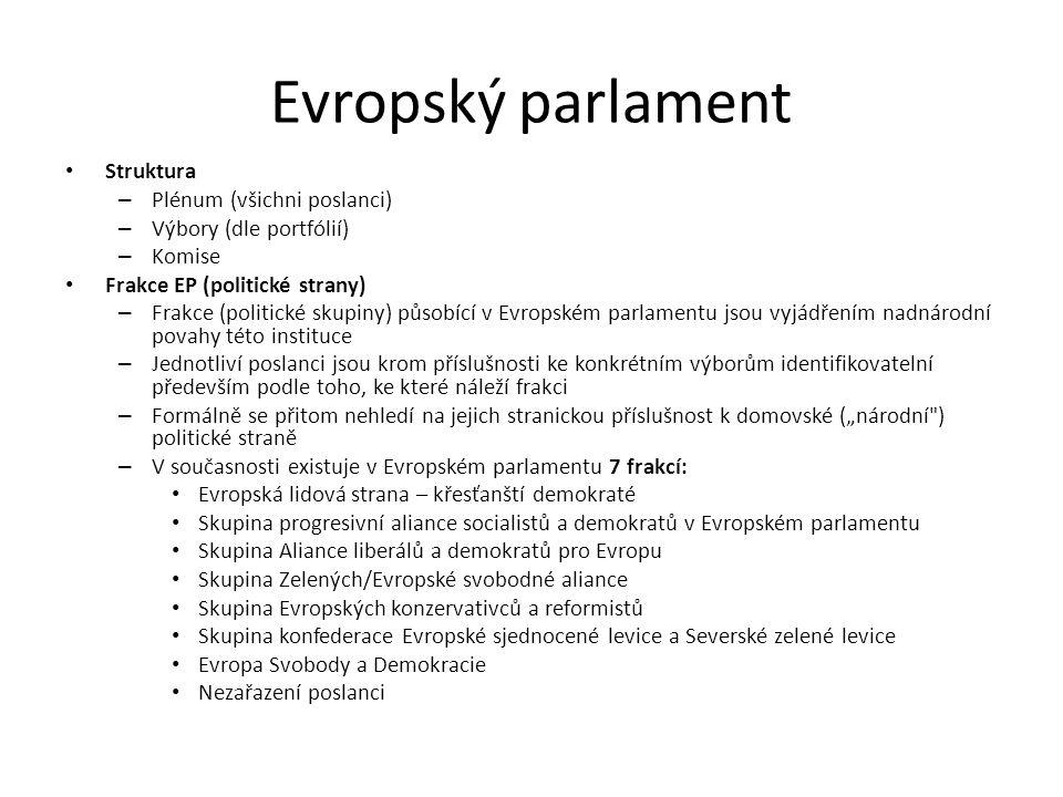 Evropský parlament Struktura Plénum (všichni poslanci)