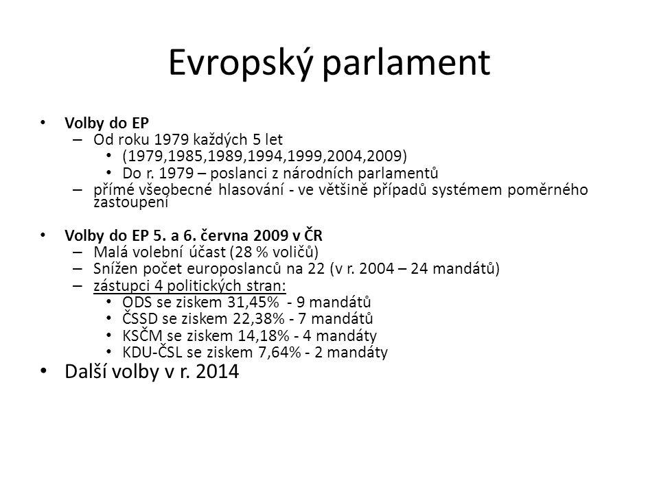 Evropský parlament Další volby v r. 2014 Volby do EP