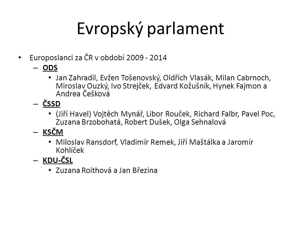 Evropský parlament Europoslanci za ČR v období 2009 - 2014 ODS