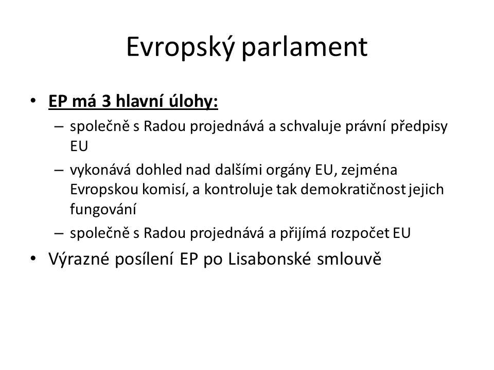 Evropský parlament EP má 3 hlavní úlohy: