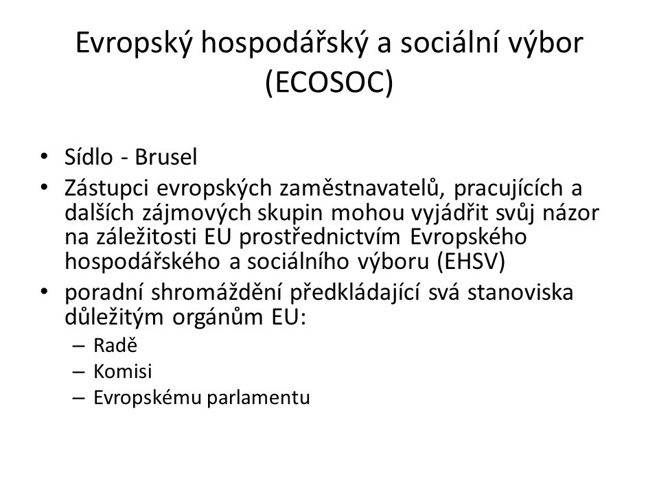 Evropský hospodářský a sociální výbor (ECOSOC)
