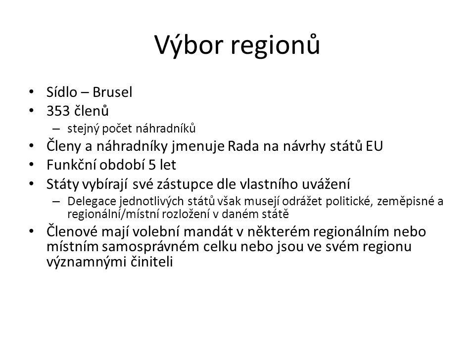 Výbor regionů Sídlo – Brusel 353 členů