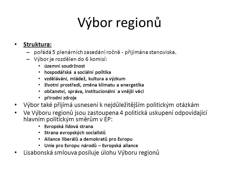 Výbor regionů Struktura: