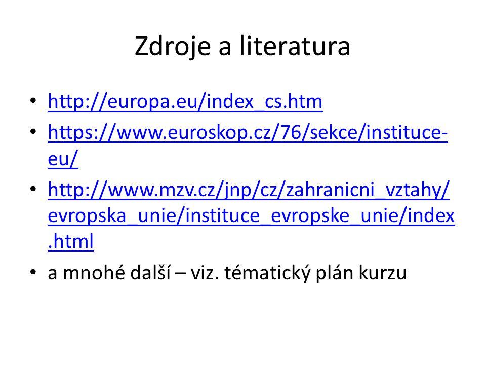 Zdroje a literatura http://europa.eu/index_cs.htm