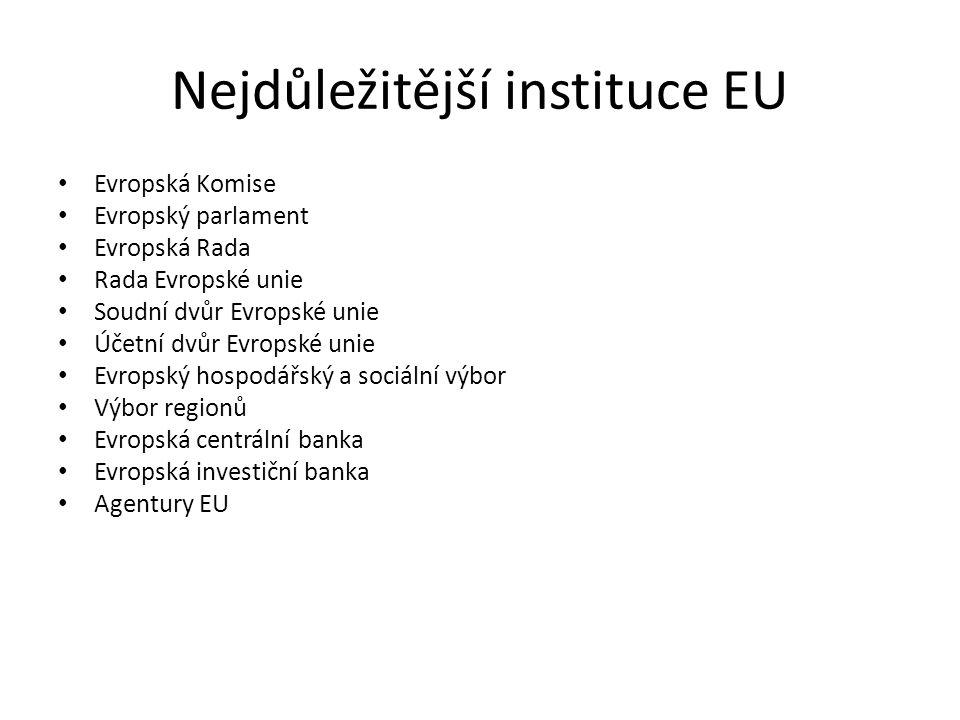 Nejdůležitější instituce EU