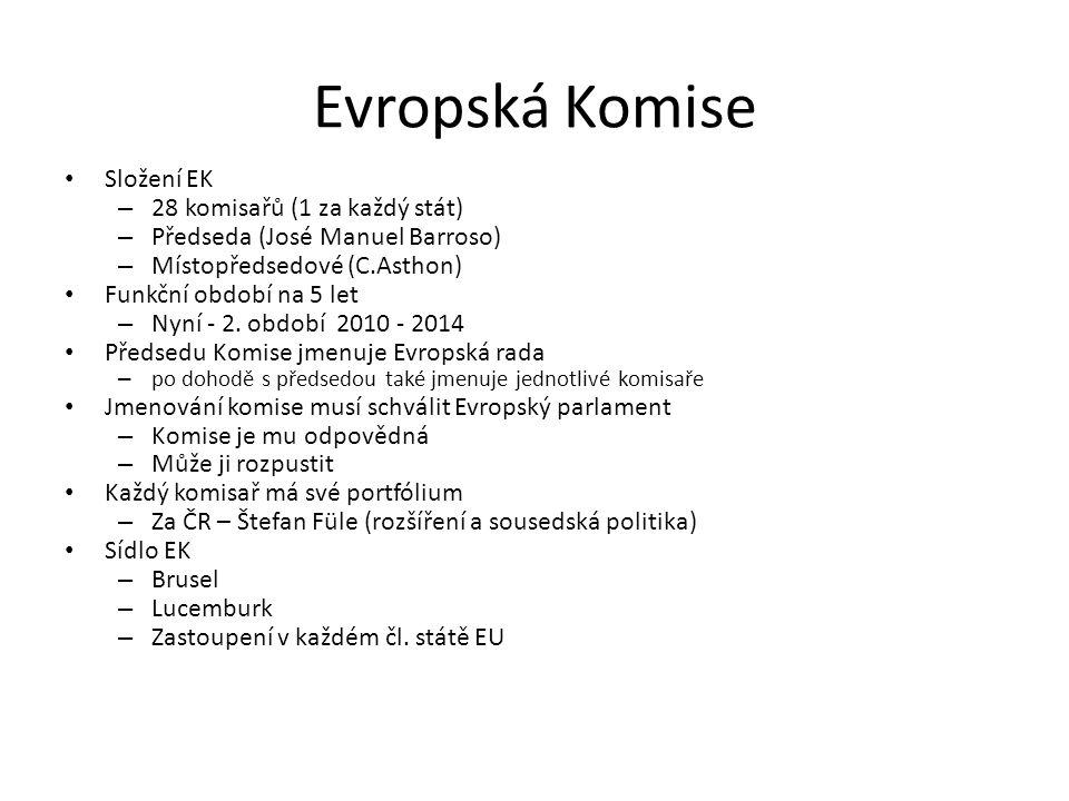 Evropská Komise Složení EK 28 komisařů (1 za každý stát)