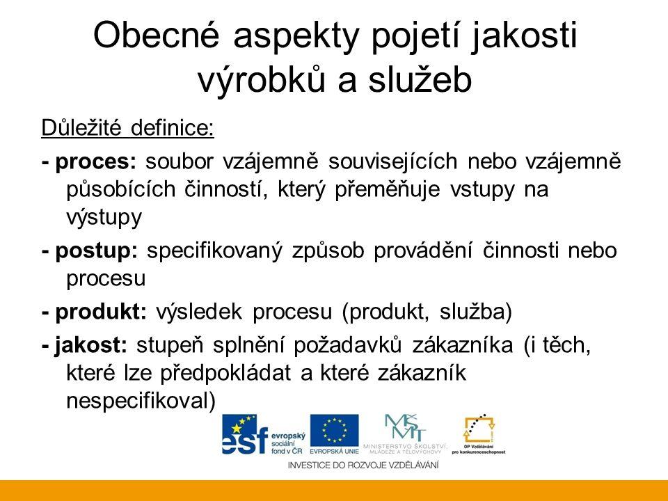 Obecné aspekty pojetí jakosti výrobků a služeb